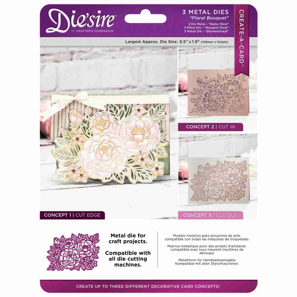 Die'sire Create-A-Card Metal Dies: Floral Bouquet