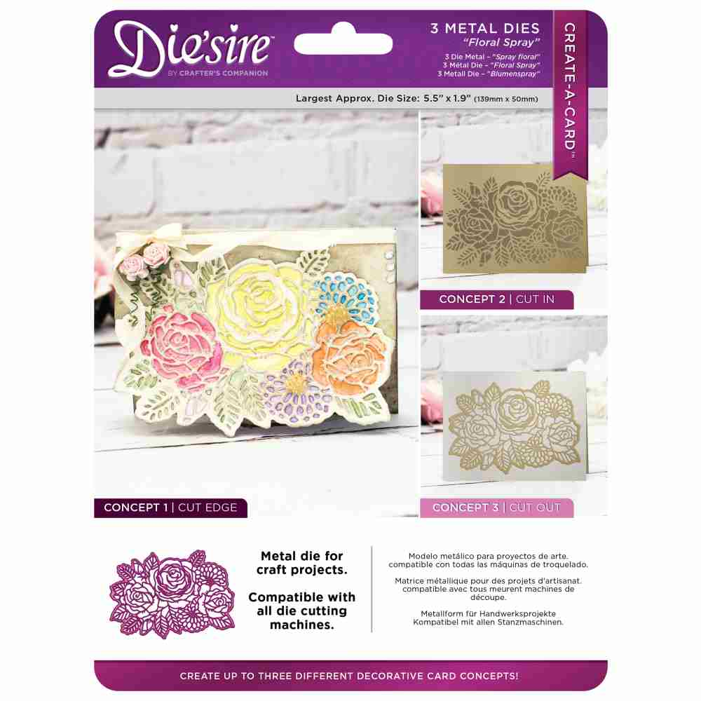 Die'sire Create-A-Card Metal Dies: Floral Spray