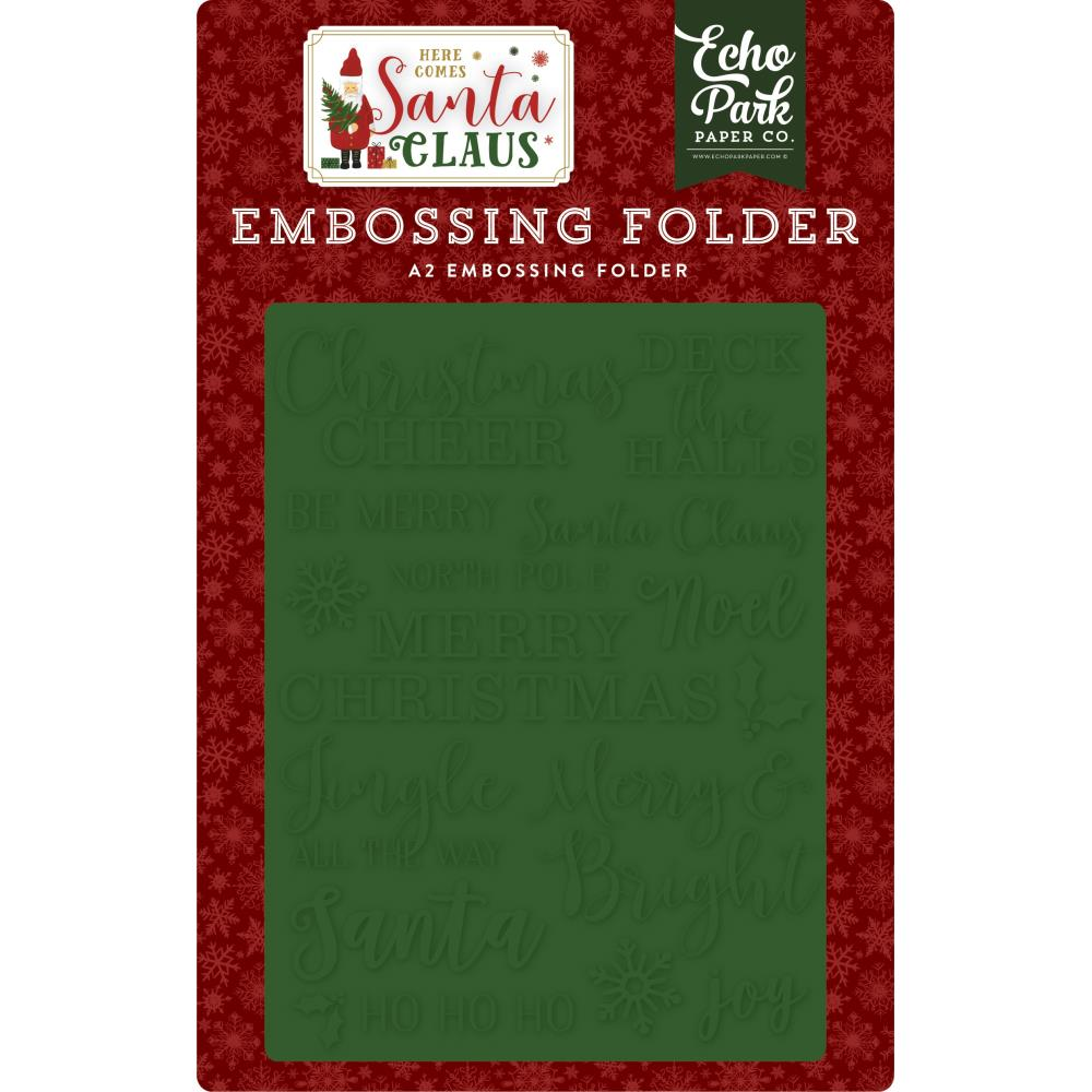 Here Comes Santa Claus Christmas Cheer A2 Embossing Folder