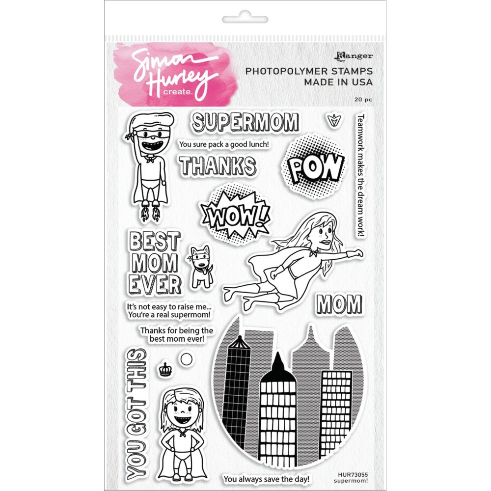 Simon Hurley Create. Supermom! 6x8 Clear Stamp Set