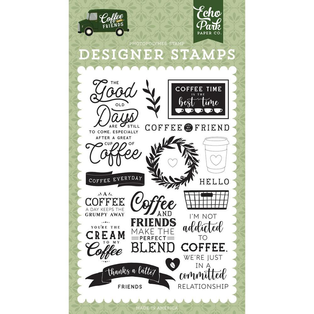 Coffee and Friends 4x6 Clear Stamp Set: Coffee Addict