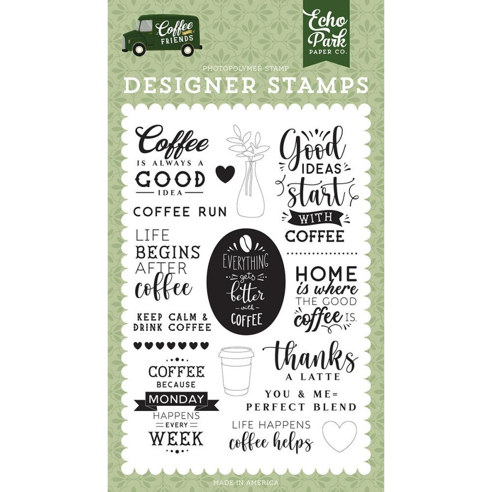 Coffee and Friends 4x6 Clear Stamp Set: Coffee Run