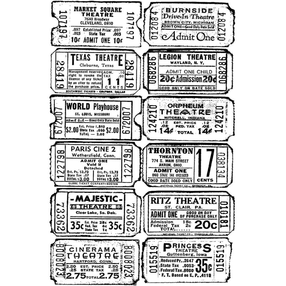 Tim Holtz Components Cling Stamps: Tickets