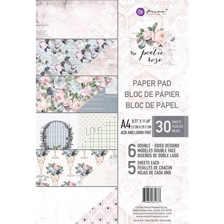 A4 Paper Pad: Poetic Rose
