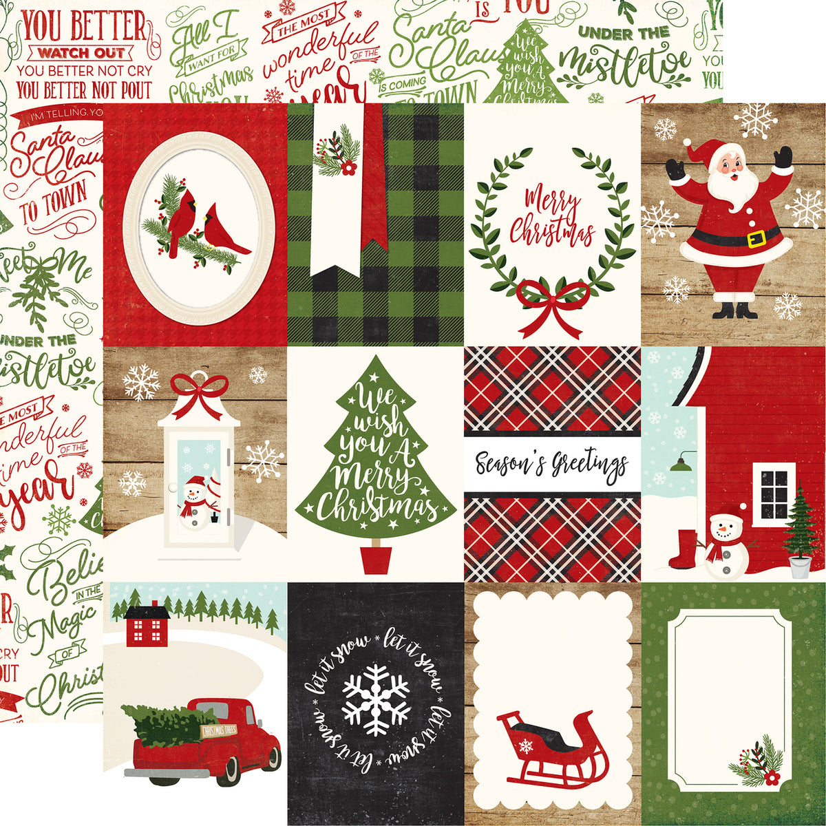 A Perfect Christmas 12x12 Paper: 3x4 Journaling Cards