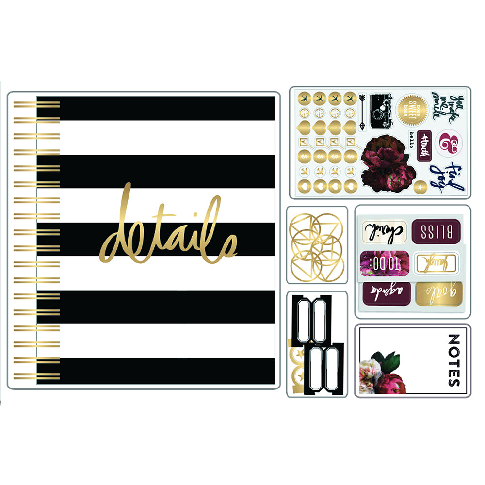 Black & White Stripes Planner Journal Kit