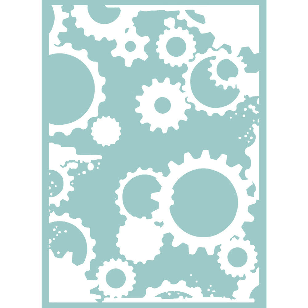 5x7 Embossing Folder: Mikashet (Grungy Cogs & Gears)