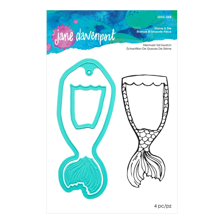 Jane Davenport Artomology Mermaid Tail Swatch Stamp and Die Set