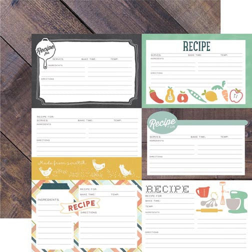 12x12 Designer Paper: Made from Scratch (Recipe Cards)