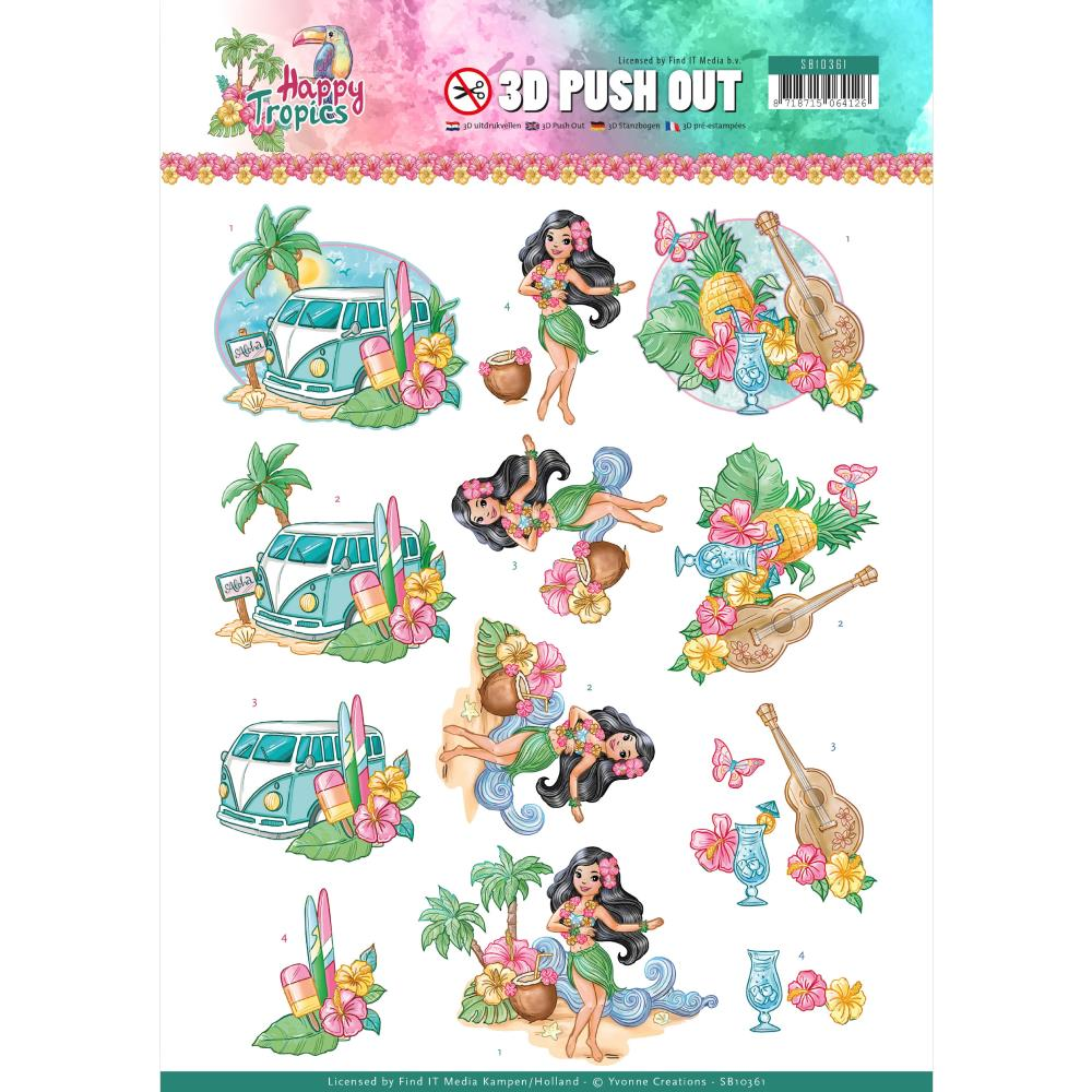 Yvonne Creations Happy Tropics Tropical Holiday Punchout Sheet
