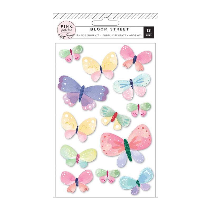 Paige Evans Bloom Street Butterflies Dimensional Stickers