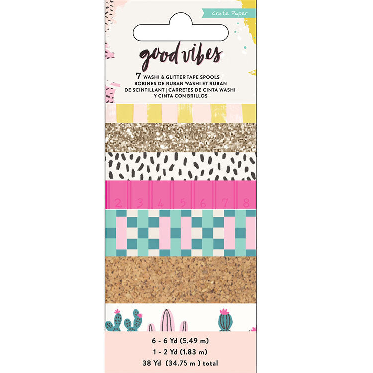 Washi Tape Rolls (7PK): Good Vibes
