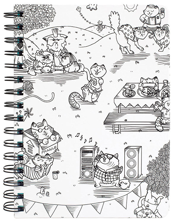 Adult Coloring Spiral Notebook: Hall Pass (Kitty Karaoke)