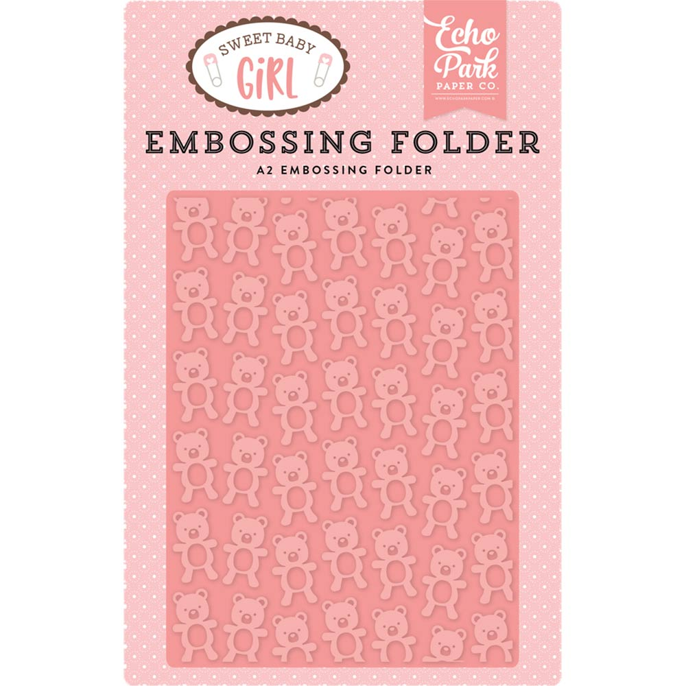 A2 Embossing Folder: Sweet Baby Girl (Teddy Bear)