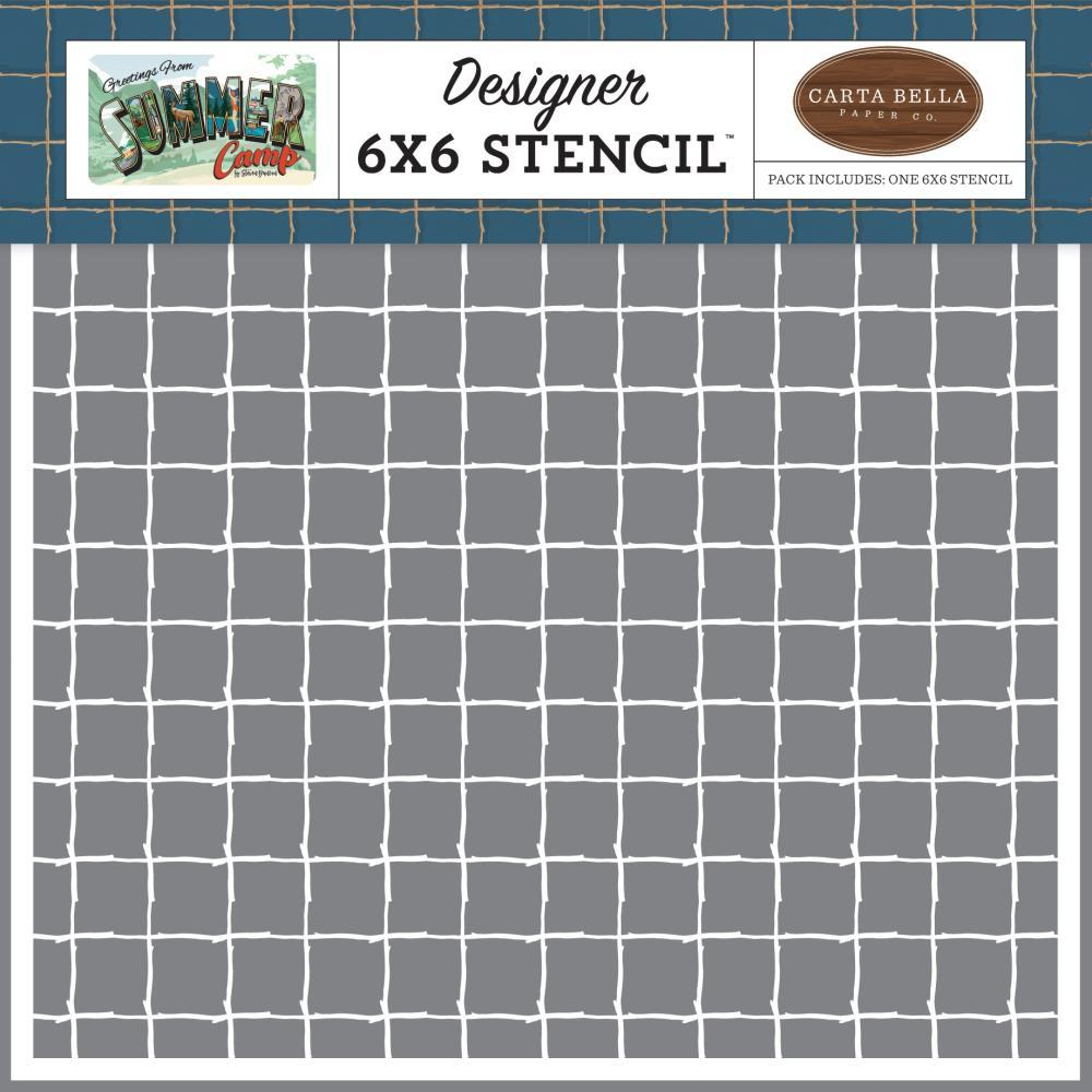 Summer Camp Stick Grid 6x6 Stencil