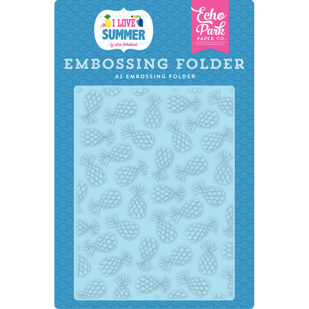 I Love Summer Pineapples A2 Embossing Folder