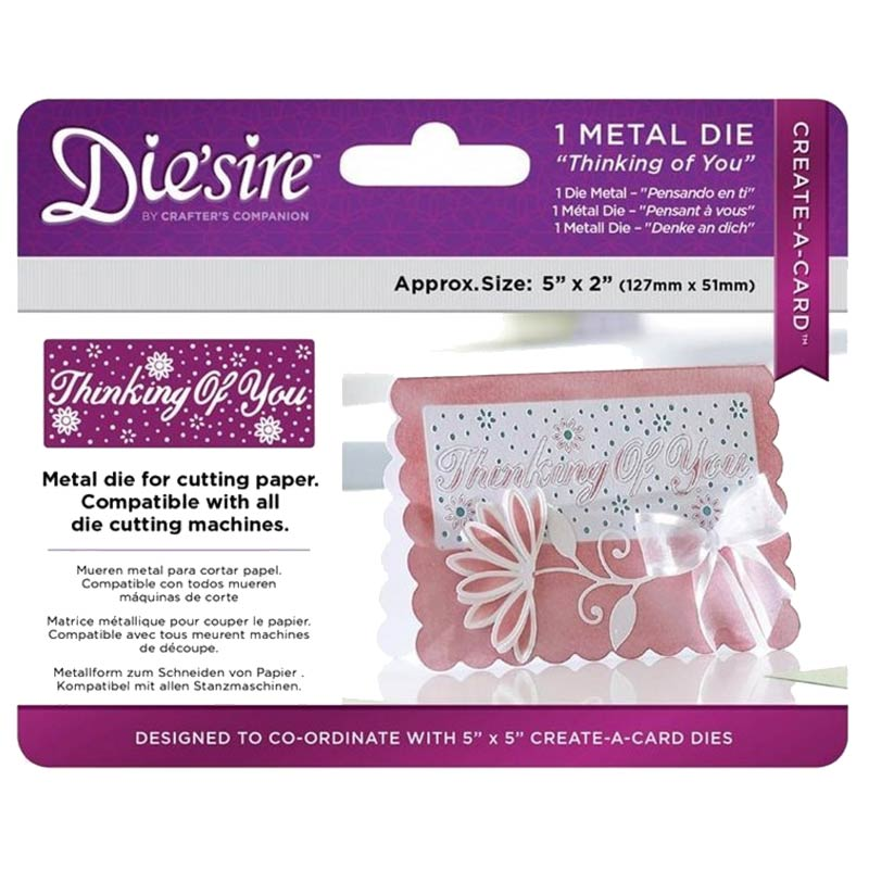Die'sire Create-A-Card 5x2 Metal Dies: Thinking of You