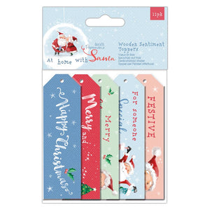 At Home with Santa Wooden Sentiment Toppers
