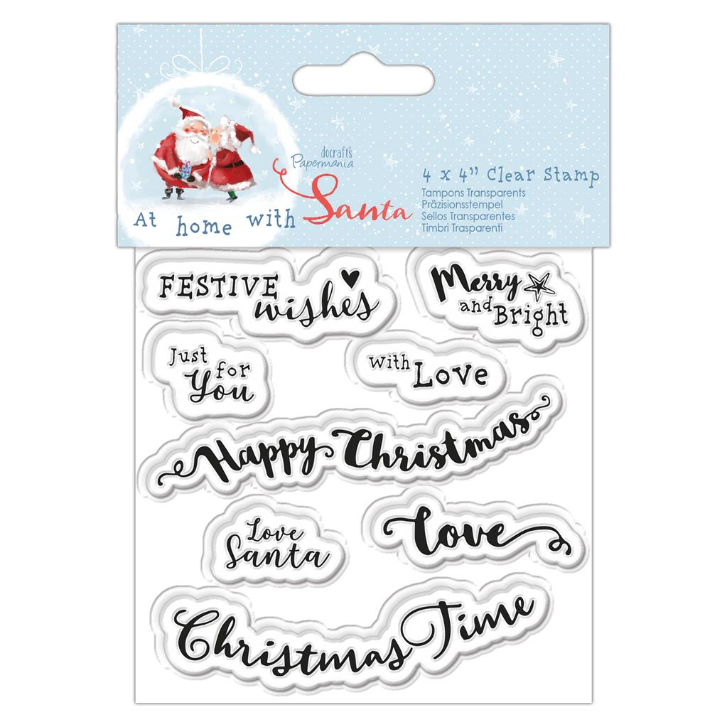 At Home with Santa 4x4 Clear Stamp Set: Sentiments