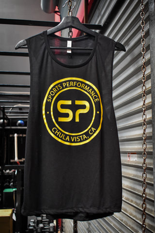 SP Gold Emblem Flowy Scoop Muscle Tank