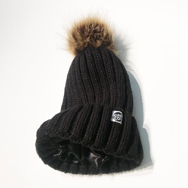 Black satin-lined beanie winter hat toque
