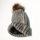 Dark grey satin-lined beanie winter hat toque