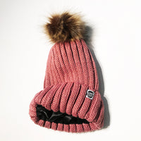 Dark pink satin-lined beanie winter hat toque