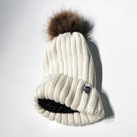 White satin-lined beanie winter hat toque