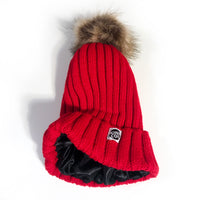 Satin-Lined Beanie with Removable Pompom (Light Knit)