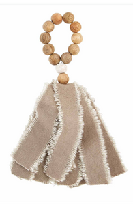 Beaded Fringe Napkin Ring Tan