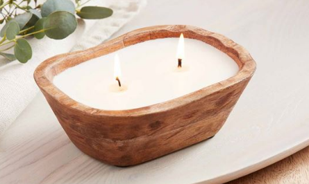 Small Petite Wood Bowl Candle
