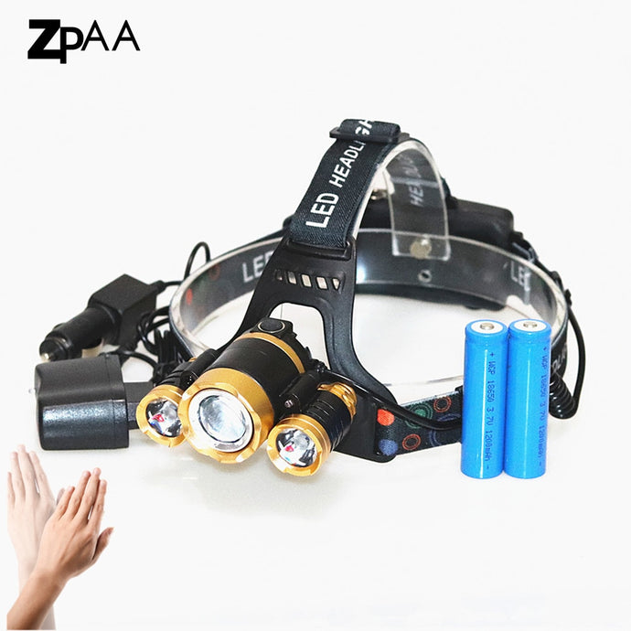 ZPAA Front Head Light Lamp Lantern Zoom XML T6 15000lm High Power Rechargeable 18650 Battery Headlamp  Flashlight T6 Headlight