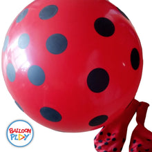 "Load image into Gallery viewer, 10"" Red with Black Polka Dots Printed Round Latex Balloon- Pack of 50 - BalloonPlay"