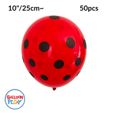 "Load image into Gallery viewer, 50pcs Ladybug Print, Red with Black Polka Dots 10"" Round Latex Balloon - Pack of 50"