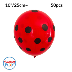 "50pcs Ladybug Print, Red with Black Polka Dots 10"" Round Latex Balloon - Pack of 50"
