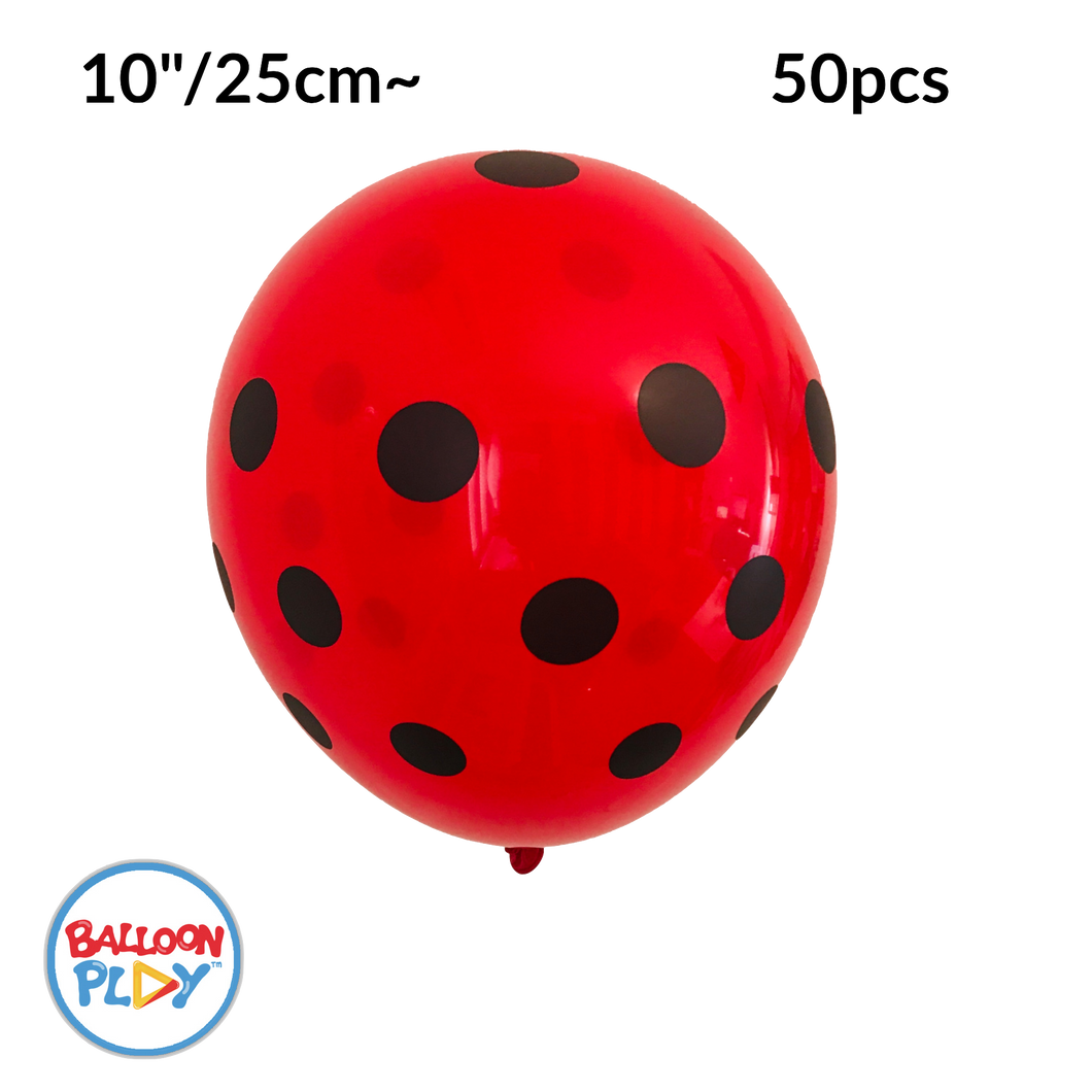 50pcs Ladybug Print, Red with Black Polka Dots 10