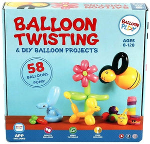 Balloon modelling Kit with App | 58 balloons, pump, stickers, markers and a pump, fun gift for all ages and genders - BalloonPlay