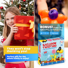 Load image into Gallery viewer, Balloon modelling Kit with App | 58 balloons, pump, stickers, markers and a pump, fun gift for all ages and genders - BalloonPlay