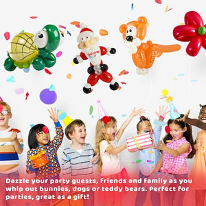 Deluxe Balloon Animal Kit with App | 150 Balloons + High Quality Balloon Pump + Stickers + Marker + Balloon App with 40+ Video Tutorials, Fun Gift for All Ages and Celebrations. - BalloonPlay