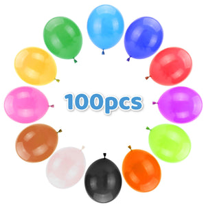 "Latex round 10"" Party Balloons (100 PCS) Bulk Pack with Assorted Colors – Strong & Thickened. Use for Helium, air and Colorful Party Decoration Balloons for Birthdays, Anniversary Celebration - BalloonPlay"