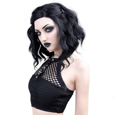 Crop Top Black Mesh