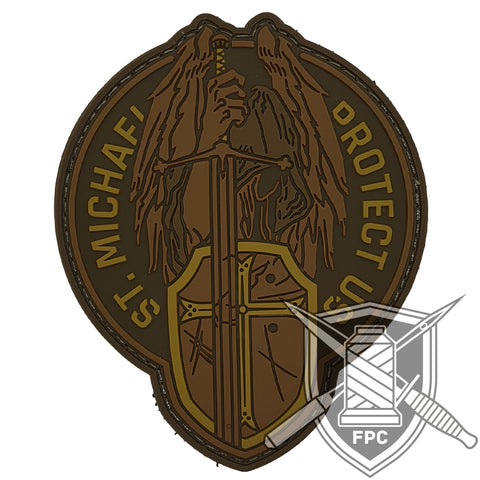 St. Michael - Protect us - Oliv - PVC Patch