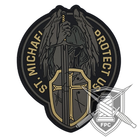 St. Michael - Protect us - Elfenbein - PVC Patch
