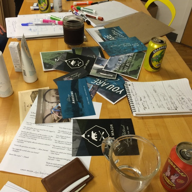 A mess of planning documents and beer on top of a table at Ursa Major headquarters in Burlington, Vermont.