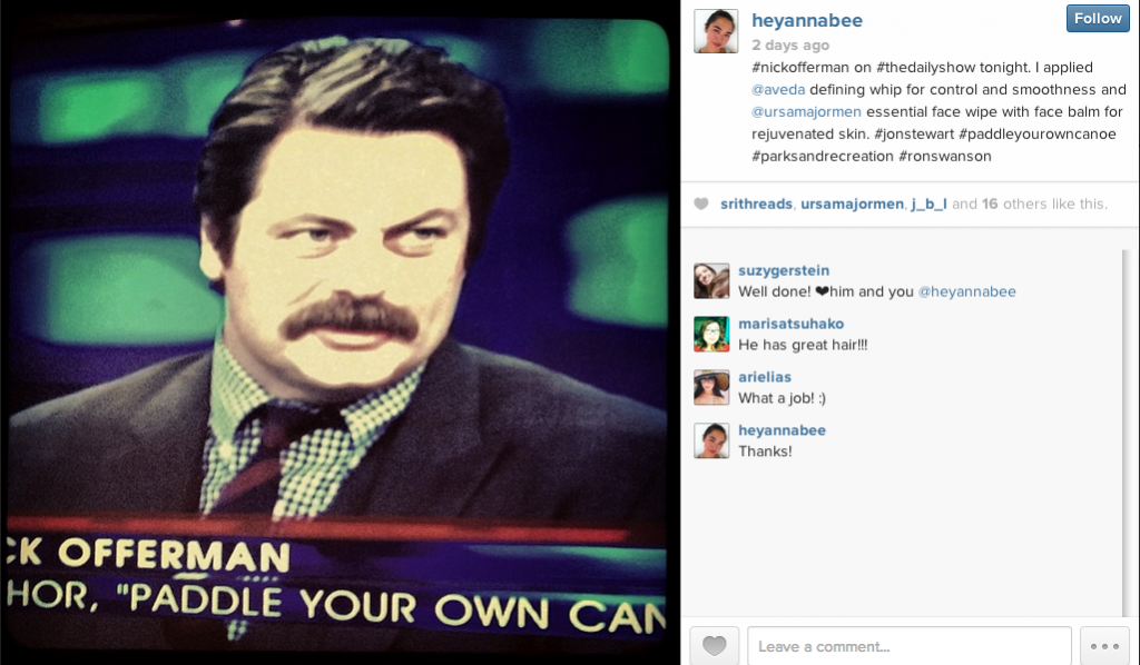 Nick Offerman on the Daily Show, having used Ursa Major skin care products.