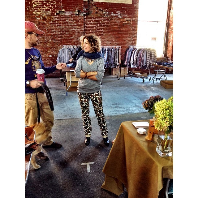 Emily Doyle wearing Greenwich Vintage Co. camo pants.