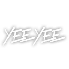 "Load image into Gallery viewer, White Yee Yee windshield decal (36"")"
