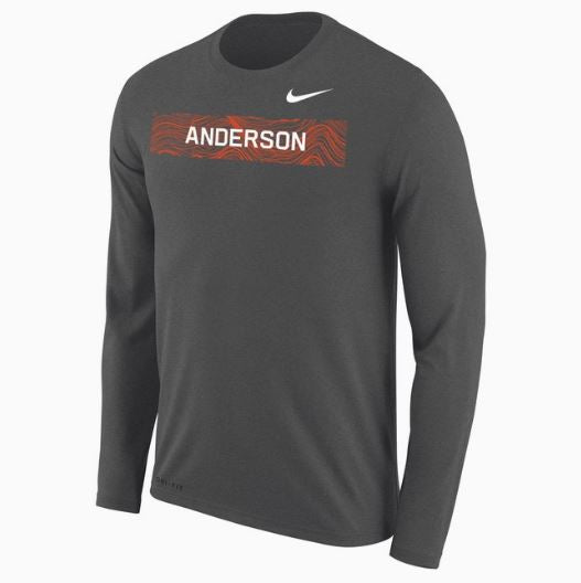 Nike Men's Dri Fit LS Tee, Charcoal Heather