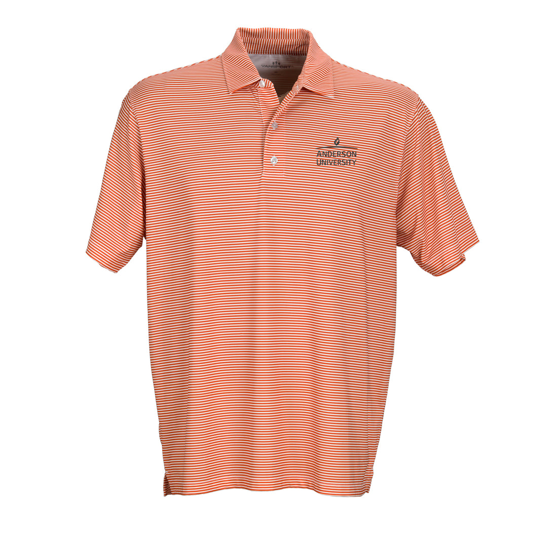 Vantage Men's Pro Tonal Micro Stripe Polo, Orange