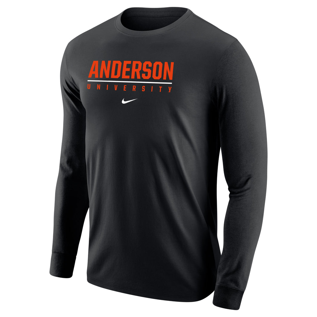 Nike Men's Core Cotton Long Sleeve Tee. Black